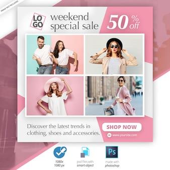 Fashion instagram post template anúncio em banner na web