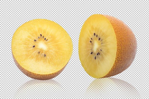 Fatia de fruta kiwi ouro isolada em transparente
