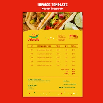 Fatura de restaurante mexicano