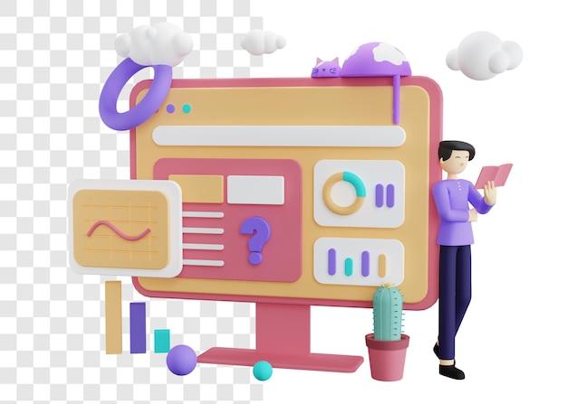 Fazendo perguntas ilustração 3d do conceito de negócio