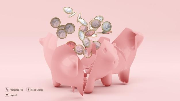 Fechar a maquete de porco com moedas isoladas