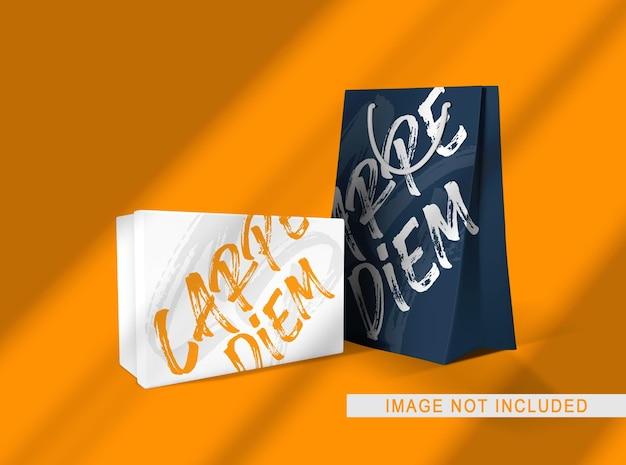 Feche a maquete de embalagem de caixa e bolsa