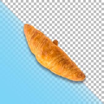 Feche o croissant isolado em fundo transparente.