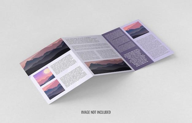Feche o design da maquete do folheto com três dobras