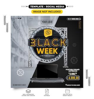 Feed de mídia social black week com produtos em oferta