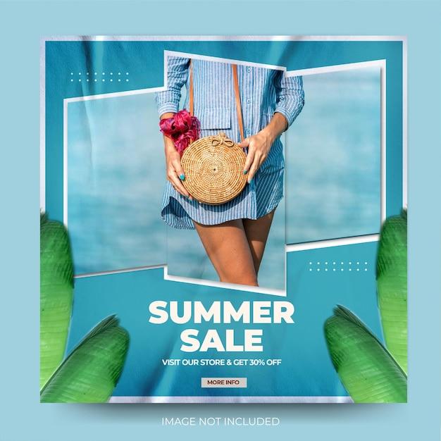 Feed de post de instagram de moda moderno em diagonal de verão