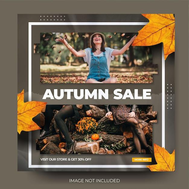 Feed de post de mídia social instagram de venda de moda outono dinâmica