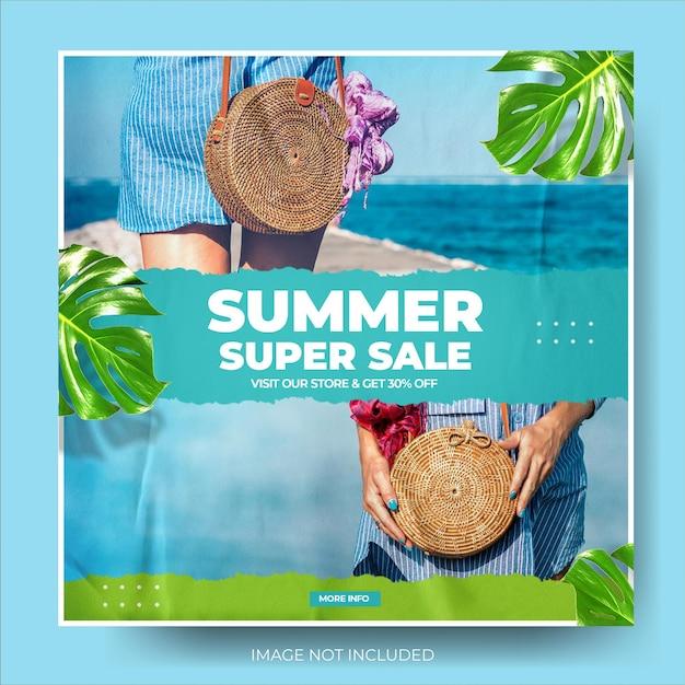 Feed de post instagram de venda de moda verão azul