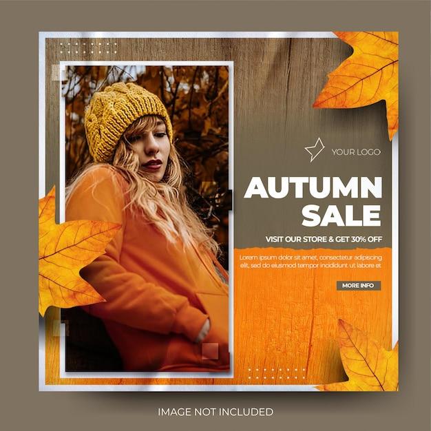 Feed de postagem de mídia social instagram de venda de moda outono