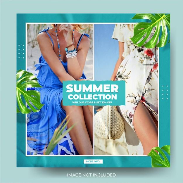 Feed de postagens do instagram de promoções de moda de verão