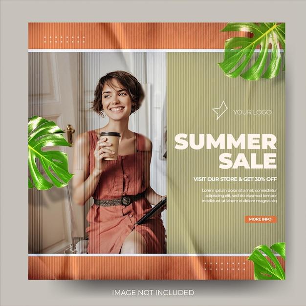 Feed de postagens do instagram minimalista de moda de verão