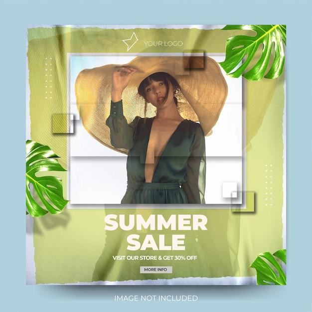 Feed de postagens do instagram para venda de moda verde moderna