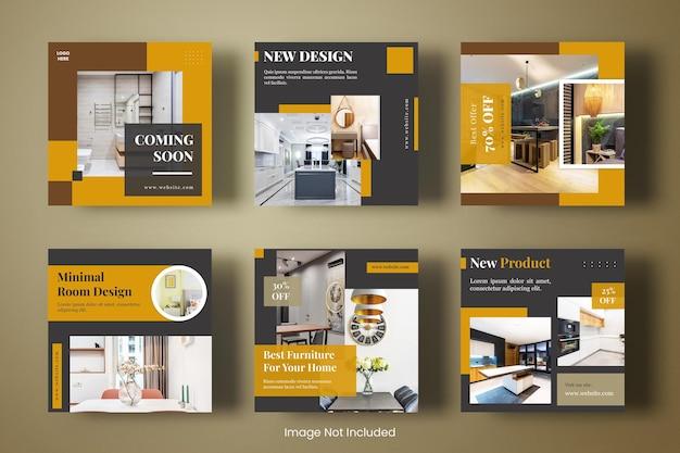 Feed quadrado do instagram para móveis e design de interiores