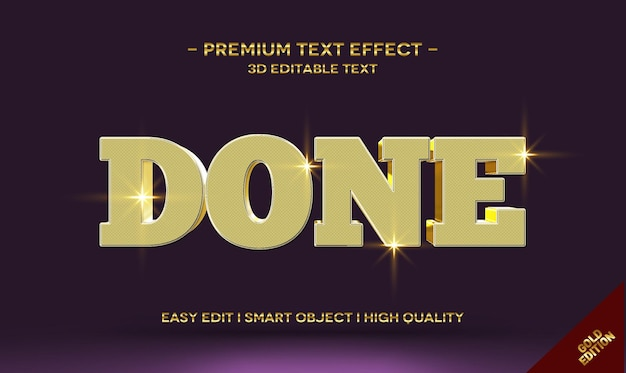 Feito modelo de efeito de estilo de texto 3d ouro