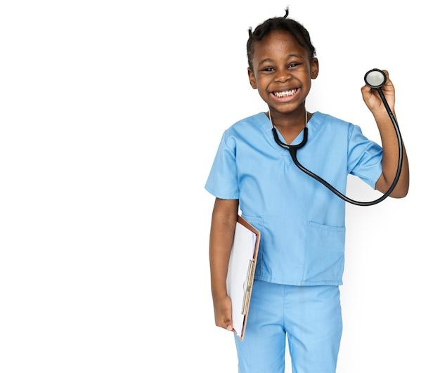 Felicidade, menininha, com, doutor, sonho, trabalho, sorrindo