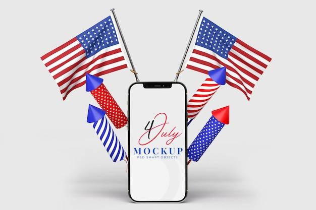 Feliz 4 de julho dia da independência dos eua e maquete de smartphone com decoração e bandeira americana