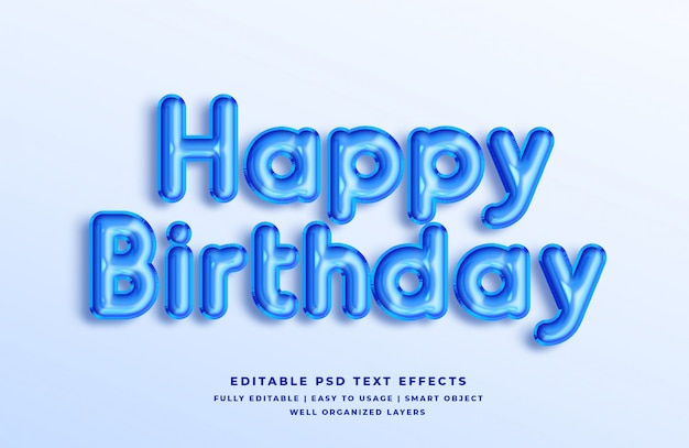 Feliz aniversário azul 3d efeito de estilo de texto
