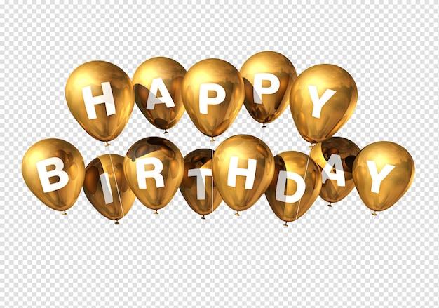 Feliz aniversário balões de ouro