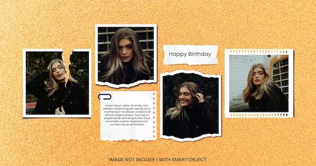 Feliz aniversário cartão foto moodboard premium psd