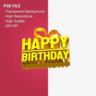 Feliz aniversário com arco e fita desenho 3d em fundo isolado