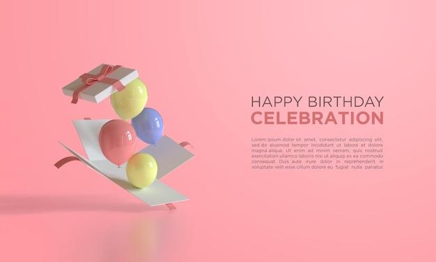 Feliz aniversário com balões de renderização 3d