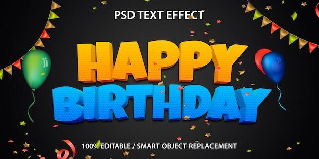 Feliz aniversário com efeito de texto editável