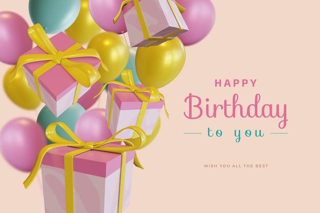 Feliz aniversário com um balão de presente com uma maquete de renderização 3d Psd Premium