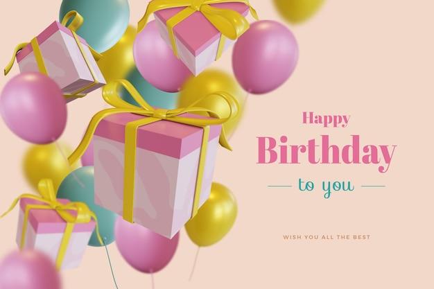 Feliz aniversário com um balão de presente com uma maquete de renderização 3d