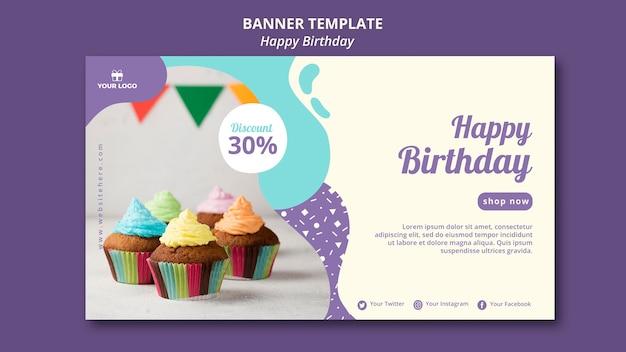 Feliz aniversário conceito banner modelo