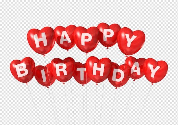 Feliz aniversário em balões em forma de coração vermelho