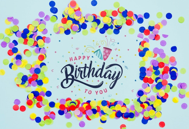 Feliz aniversário para você, forma de quadro de confete