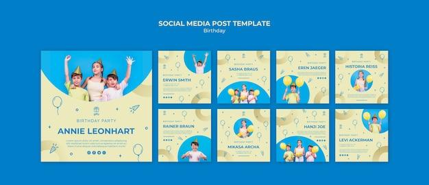 Feliz aniversário post de mídia social