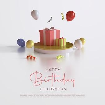Feliz aniversário, renderização em 3d com balões