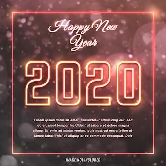 Feliz ano novo 2020 cartão com estilo neon