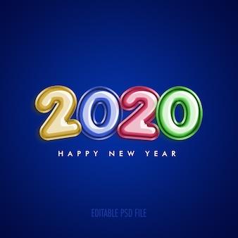 Feliz ano novo 2020 com balões coloridos metálicos