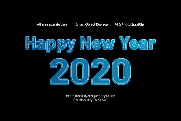 Feliz ano novo 2020 criativo moderno 3d doces texto estilo efeito