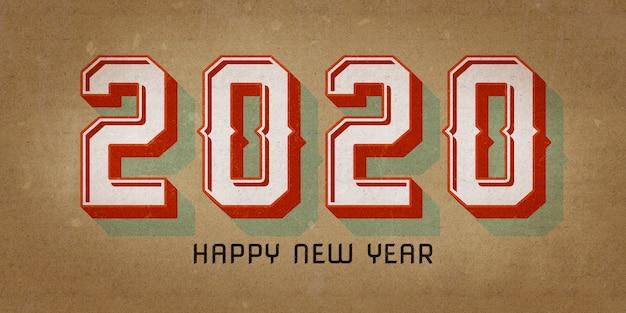 Feliz ano novo 2020 design estilo retro