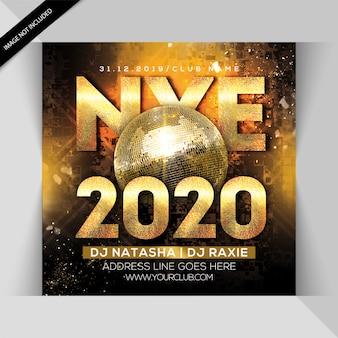 Feliz ano novo 2020 panfleto de festa