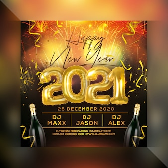 Feliz ano novo 2021 panfleto de festa