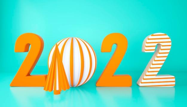 Feliz ano novo 2022. números 3d com formas geométricas e bola de natal. renderização 3d.