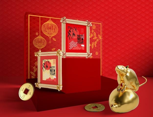 Feliz ano novo chinês com rato de ouro