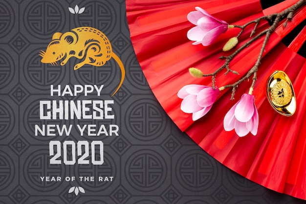 Feliz ano novo chinês mock-up