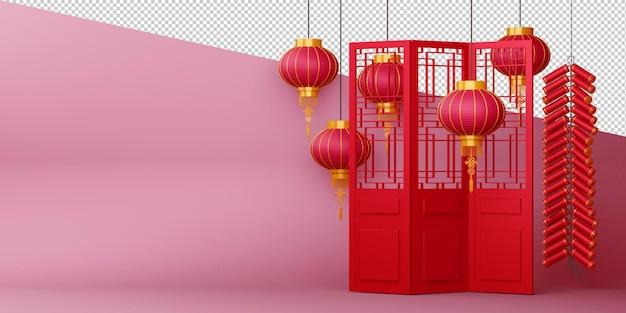 Feliz ano novo com renderização tradicional de sinais chineses