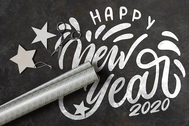 Feliz ano novo conceito com mock-up