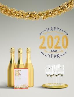 Feliz ano novo de 2020 conceito dourado