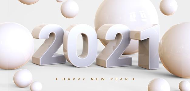 Feliz ano novo de 2021 com renderização de objetos 3d