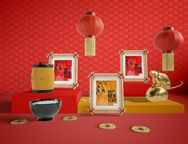 Feliz ano novo estilo chinês de ilustração