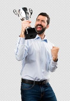 Feliz, bonito, homem, com, barba, segurando, um, troféu