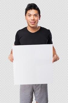 Feliz chinês-esporte-homem com banner