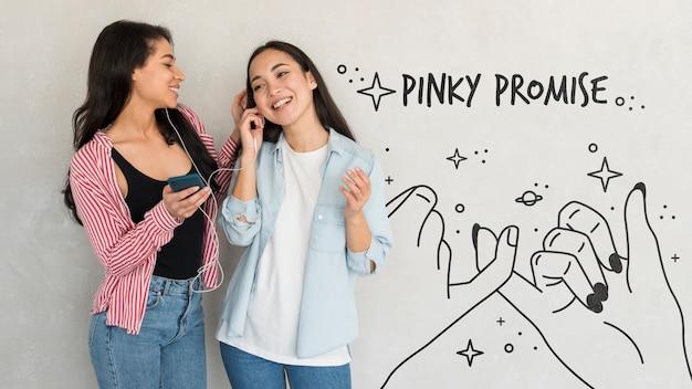 Feliz dia da amizade. mulheres jovens, melhores amigas, celebrando o dia da amizade